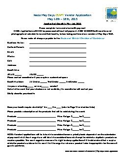 Kaslo and District Chamber of Commerce | May Days Vendor Application . PDF document - DocSlides