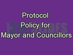 Protocol Policy for Mayor and Councillors