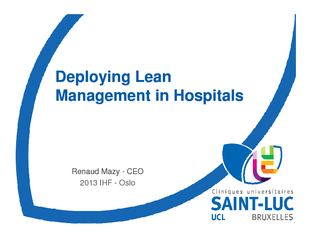 DeployingLean Management in HospitalsDeployingLean Management in Hospi PowerPoint PPT Presentation