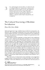 Two anthropologists treat mealtimes as cultural sites forsocializing c