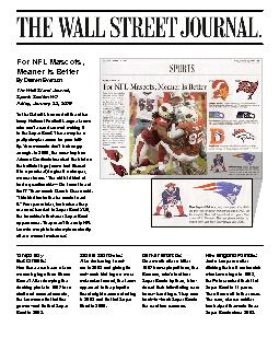 For NFL Mascots,  Wall Street Journal, Friday, January 23, 2009To the PDF document - DocSlides