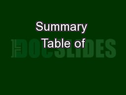 Summary Table of PDF document - DocSlides