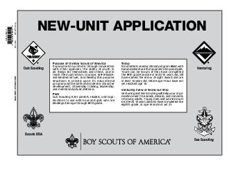 NEWUNIT APPLICATION Purpose of the Boy Scouts of America Its purpose is to promote through cooperation with other agencies the ability of youth to do things for themselves and others and to teach them