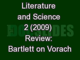 Journal of Literature and Science 2 (2009)  Review: Bartlett on Vorach PDF document - DocSlides