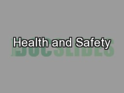 Health and Safety PDF document - DocSlides