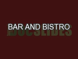 BAR AND BISTRO