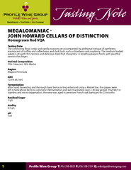 MEGALOMANIAC  JOHN HOWARD CELLARS OF DISTINCTIONHomegrown Red VQAoteT PDF document - DocSlides