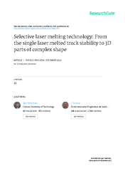 Selective laser melting technology: from the single laser melted  ... PDF document - DocSlides
