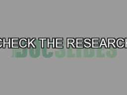 CHECK THE RESEARCH PDF document - DocSlides