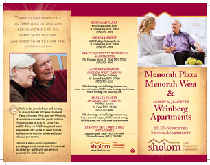 Sholom has provided care and housing to seniors for over 100 years. Me