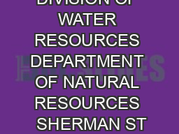COLORADO DIVISION OF WATER RESOURCES DEPARTMENT OF NATURAL RESOURCES  SHERMAN ST