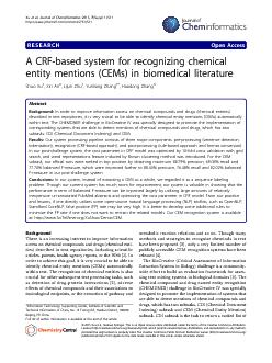 RESEARCHOpenAccessACRF-basedsystemforrecognizingchemicalentitymentions PDF document - DocSlides