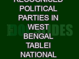 LIST OF RECOGNISED POLITICAL PARTIES IN WEST BENGAL TABLEI NATIONAL PARTIES SL No