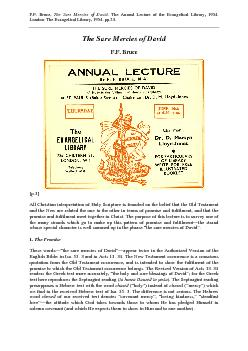 F.F. Bruce, The Sure Mercies of David. The Annual Lecture of the Evang