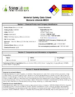 Material Safety Data SheetMercuric chloride MSDS PDF document - DocSlides