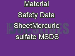 Material Safety Data SheetMercuric sulfate MSDS