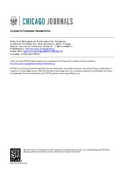 Journal of Consumer Research Inc.