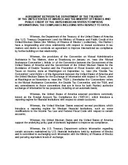 AGREEMENT BETWEEN THE DEPARTMENT OF THE TREASURYOF THE UNITED STATESOF