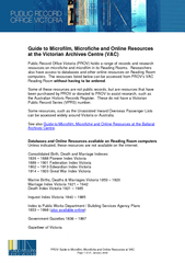 PROV Guide to Microfilm, Microfiche and Online Resources at VAC Page 2