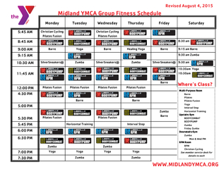 Midland YMCA Group Fitness Schedule