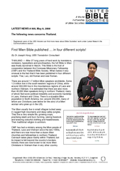 LATEST NEWS # 505, May 9, 2008 The following news concerns Thailand. B