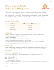 Cunard is pleased to offer a special military personnel on board credi