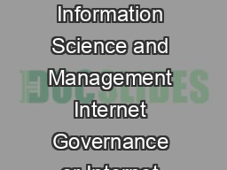 International Journal of Information Science and Management Internet Governance or Internet Control E