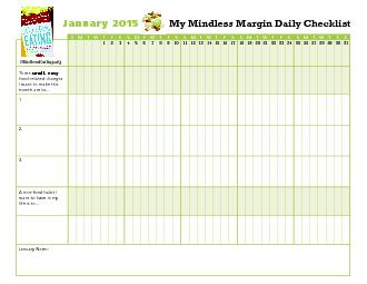 My Mindless Margin Daily Checklist