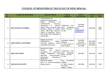COUNCIL OF MINISTERS OF THE STATE OF WEST BENGAL