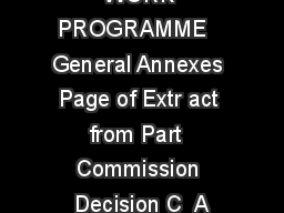 HORIZON   WORK PROGRAMME   General Annexes Page of Extr act from Part  Commission Decision C  A