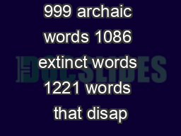 738 insults 999 archaic words 1086 extinct words 1221 words that disap PowerPoint PPT Presentation