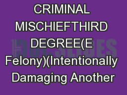 CRIMINAL MISCHIEFTHIRD DEGREE(E Felony)(Intentionally Damaging Another PowerPoint PPT Presentation