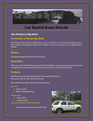 Car Rental Kona Hawaii