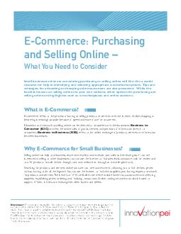 ECommerce Purchasing and Selling Online  What You Need to Consider Disclaimer PDF document - DocSlides
