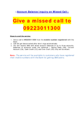 Account Balance Inquiry on Missed Call::