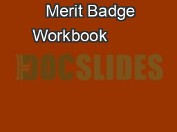 Merit Badge Workbook
