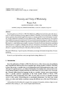 Diversity and Unity of ModularityDepartment of Humanities, Alvernia Co