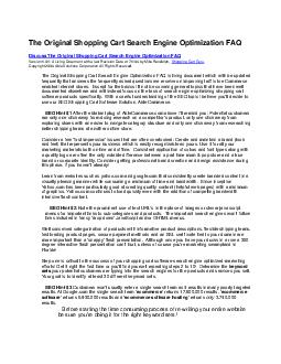The Original Shopping Cart Search Engine Optimization FAQ Discuss The Original S PDF document - DocSlides
