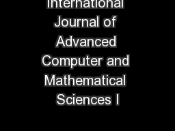 International Journal of Advanced Computer and Mathematical Sciences I