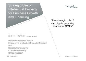 Engineering Intellectual Property Research Cranfield University