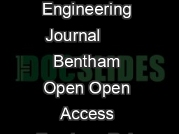 The Open Civil Engineering Journal       Bentham Open Open Access Fourteen Poin