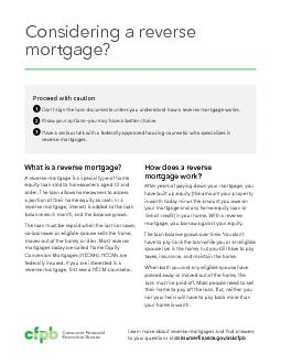 What is a reverse mortgage?CONSIDERING AREVERSE MORTGAGE?