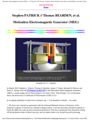 Motionless Electromagnetic Generator (MEG) ~ US Patent # 6,362,718 and