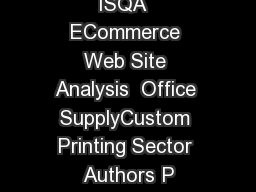 ISQA  ECommerce Web Site Analysis  Office SupplyCustom Printing Sector Authors P