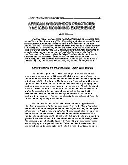 Okorie African Widowhood Practices 79 AFRICAN WIDOWHOOD PRACTICES: THE