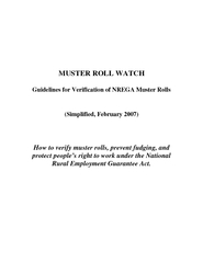 MUSTER ROLL WATCH Guidelines for Verification of NREGA Muster Rolls (S