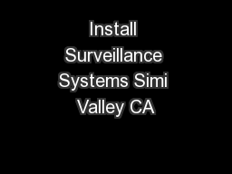 Install Surveillance Systems Simi Valley CA