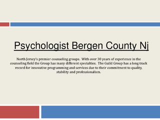 Psychologist Bergen County Nj