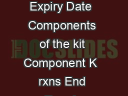 PRODUCT INFORMATION Fast DNA End Repair Kit  for  reactions Lot  Expiry Date  Components of the kit Component K  rxns End Repair Enzyme Mix  l X End Repair Reaction Mix  l Store at C www