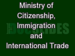 Ministry of Citizenship, Immigration and International Trade